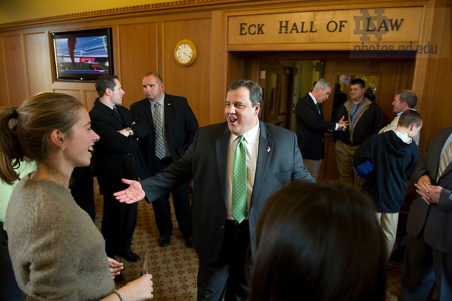 """November 18, 2011; New Jersey Gov. Chris Christie chats with students during a meet-and-greet in the Eck Commons. Christie delivered the keynote address during a daylong symposium, titled """"Educational Innovation and the Law"""" in the Patrick F. McCartan Courtroom at the Notre Dame Law School. Photo by Barbara Johnston/University of Notre Dame."""