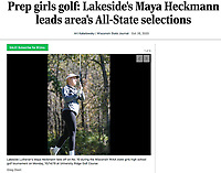 Maya Heckmann leads 2020 Wisconsin All-State girls golf selection - Lake Mills, Wisconsin Lakeside Lutheran's Maya Heckmann is pictured here from 2019, as she tees off on No. 10, during the Wisconsin WIAA state girls high school golf tournament on Monday, Oct. 14, at University Ridge Golf Course | Wisconsin State Journal article online 10/26/20 at https://madison.com/wsj/sports/high-school/golf/prep-girls-golf-lakesides-maya-heckmann-leads-areas-all-state-selections/article_bcb818b2-a4f3-5044-aab1-78c8cb6ebf20.html