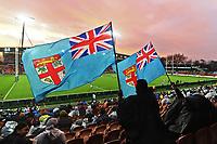 17th July 2021; Hamilton, New Zealand;  Fiji fans await the start of the match. All Blacks versus Fiji, Steinlager Series, international rugby union test match. FMG Stadium Waikato, Hamilton, New Zealand.