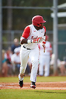 Ohio State Buckeyes left fielder Ronnie Dawson (4) runs to first during a game against the Illinois State Redbirds on March 5, 2016 at North Charlotte Regional Park in Port Charlotte, Florida.  Illinois State defeated Ohio State 5-4.  (Mike Janes/Four Seam Images)