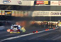 Nov 9, 2013; Pomona, CA, USA; NHRA funny car driver Tim Wilkerson during qualifying for the Auto Club Finals at Auto Club Raceway at Pomona. Mandatory Credit: Mark J. Rebilas-