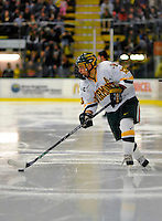 1 February 2008: University of Vermont Catamounts' forward Corey Carlson, a Junior from Two Harbors, MN, in action against the University of New Hampshire Wildcats at Gutterson Fieldhouse in Burlington, Vermont. The seventh-ranked Wildcats defeated the Catamounts 5-1in front of a sellout crowd of 4,003...Mandatory Photo Credit: Ed Wolfstein Photo
