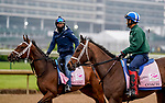 April 25, 2021: Coach and Adventuring, trained by trainer Brad Cox, exercises in preparation for the Kentucky Oaks at Churchill Downs on April 25, 2021 in Louisville, Kentucky.Scott Serio/Eclipse Sportswire/CSM