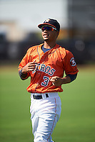 GCL Astros Gilberto Celestino (3) during warmups before the first game of a doubleheader against the GCL Mets on August 5, 2016 at Osceola County Stadium Complex in Kissimmee, Florida.  GCL Astros defeated the GCL Mets 4-1 in the continuation of a game started on July 21st and postponed due to inclement weather.  (Mike Janes/Four Seam Images)