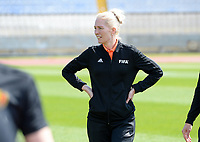 20190306 - LARNACA , CYPRUS : Finnish referee Lina Lehtovaara  pictured during a women's soccer game between  Austria and the Belgian Red Flames  , on wednesday 6 March 2019 at the GSZ  Stadium in Larnaca , Cyprus . This is the last game for both teams during the Cyprus Womens Cup 2019 which decides places 3 or 4, The Cyprus Women's cup is a prestigious women soccer tournament as a preparation on the Uefa Women's Euro 2021 qualification duels. PHOTO SPORTPIX.BE | DAVID CATRY
