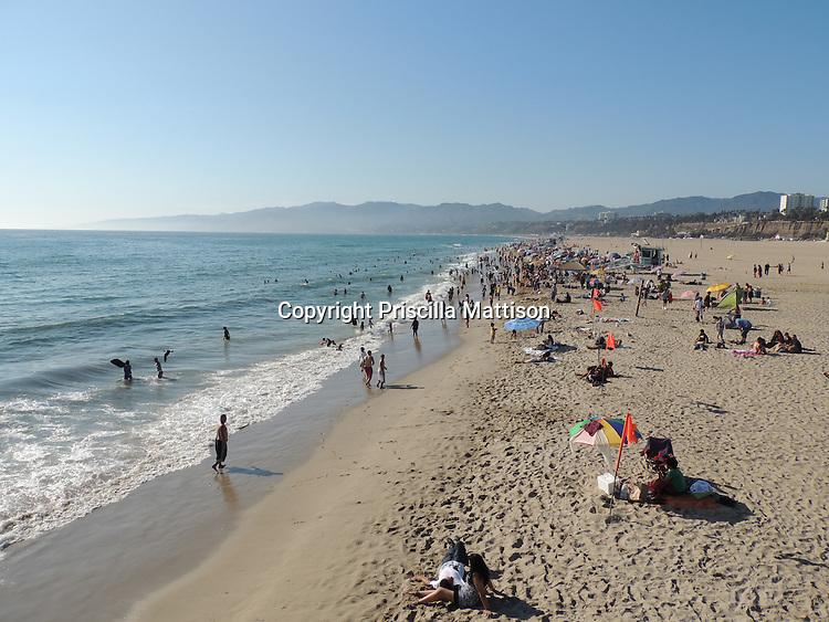 Santa Monica, California - September 23, 2012:  Beachgoers enjoy the beach.