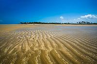 Beautifulm natural River Maracaípe sand shapes under a blue sky, in Ipojuca, near Porto de Galinhas beach, Pernambuco, Brazil