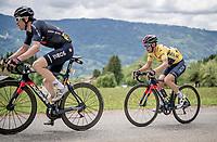 yellow jersey / GC leader Richie Porte (AUS/Ineos Grenadiers) following Geraint Thomas' (GBR/Ineos Grenadiers) lead up the Col de Joux Plane (HC/1691m/11.6 km@8.5 %)<br /> <br /> 73rd Critérium du Dauphiné 2021 (2.UWT)<br /> Stage 8 (Final) from La Léchère-Les-Bains to Les Gets (147km)<br /> <br /> ©kramon