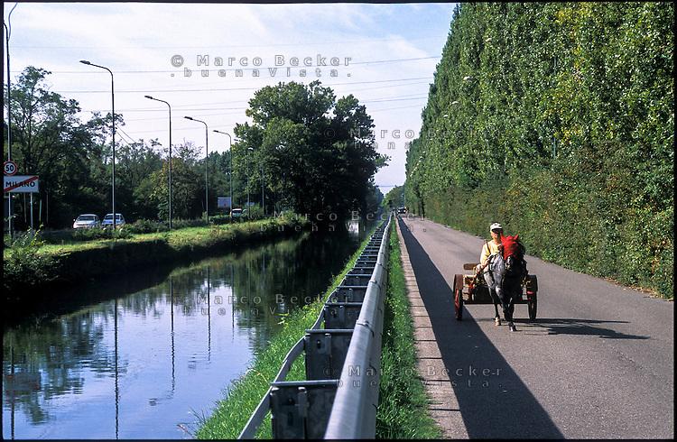 Assago (Milano), un uomo su un carretto trainato da un cavallo lungo il Naviglio Pavese --- Assago (Milan), a man on a cart pulled by a horse along the Naviglio Pavese canal