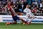 Real Madrid´s Cristiano Ronaldo and Atletico de Madrid´s Gimenez during 2015/16 La Liga match between Real Madrid and Atletico de Madrid at Santiago Bernabeu stadium in Madrid, Spain. February 27, 2016. (ALTERPHOTOS/Victor Blanco)