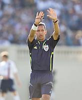 Referee Hugo Guajardo. The USA defeated China, 4-1, in an international friendly at Spartan Stadium, San Jose, CA on June 2, 2007.