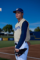 AZL Brewers Gold Wilber Diaz (49) poses for a photo before an Arizona League game against the AZL Brewers Blue on July 13, 2019 at American Family Fields of Phoenix in Phoenix, Arizona. The AZL Brewers Blue defeated the AZL Brewers Gold 6-0. (Zachary Lucy/Four Seam Images)