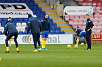 Ross County v St Johnstone…02.01.21   Global Energy Stadium     SPFL<br />Chris Kane pictured during the pre match warm up with fitness coach Alex Headrick<br />Picture by Graeme Hart.<br />Copyright Perthshire Picture Agency<br />Tel: 01738 623350  Mobile: 07990 594431