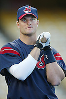 Russell Branyan of the Cleveland Indians before a 2002 MLB season game against the Los Angeles Dodgers at Dodger Stadium, in Los Angeles, California. (Larry Goren/Four Seam Images)