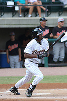 Jay Austin of the Greeneville Astros at bat during a game against the Bluefield Orioles in an Appalachian League game at Pioneer Park in Greeneville, TN on July 19, 2008