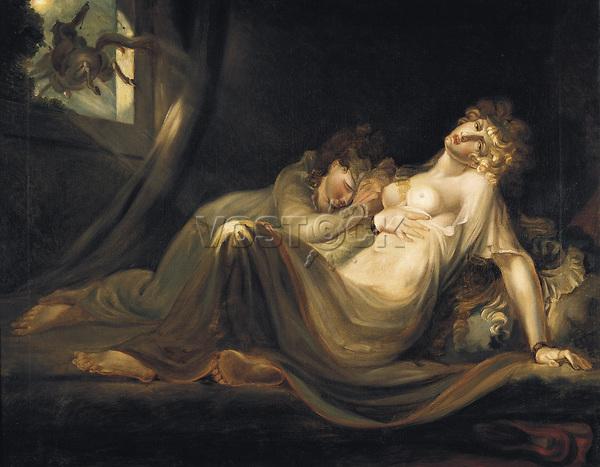 Henry Fuseli (Johann Heinrich Fussli, 1741-1825), An Incubus Leaving Two Sleeping Girls, 1783, oil on canvas.