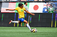 Seattle, WA - Thursday July 27, 2017: Marta during a 2017 Tournament of Nations match between the women's national teams of the Japan (JAP) and Brazil (BRA) at CenturyLink Field.