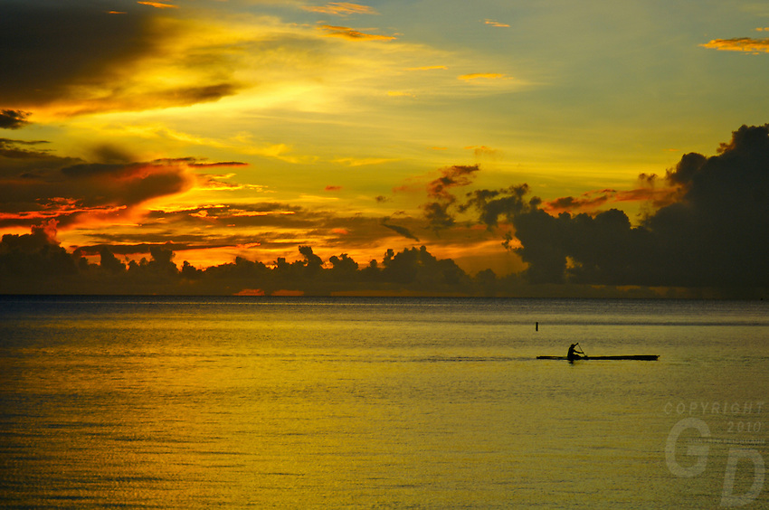 Sunset over the Rockisland, Palau Micronesia, view from the Palau Pacific Resort