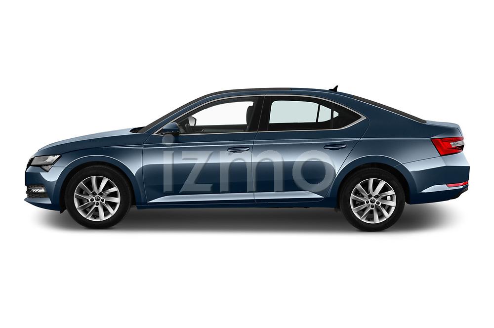 Car driver side profile view of a 2020 Skoda Superb Ambition 5 Door Hatchback