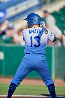 Jacob Amaya (13) of the Ogden Raptors bats against the Grand Junction Rockies at Lindquist Field on June 25, 2018 in Ogden, Utah. The Raptors defeated the Rockies 5-3. (Stephen Smith/Four Seam Images)