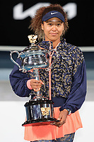February 20, 2021: 3rd seed Naomi OSAKA of Japan poses for photographs after defeating 22nd seed Jennifer BRADY of the USA in the Women's Singles Final match on day 13 of the 2021 Australian Open on Rod Laver Arena, in Melbourne, Australia. Photo Sydney Low.
