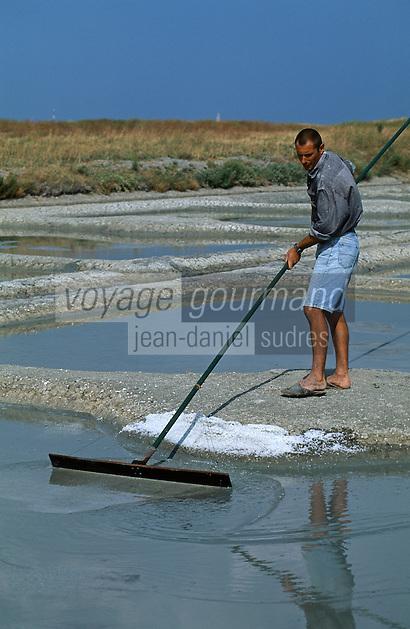 Europe/France/Pays de la Loire/85/Vendée/Ile de Noirmoutier: Récolte du sel dans les marais salants [Non destiné à un usage publicitaire - Not intended for an advertising use]