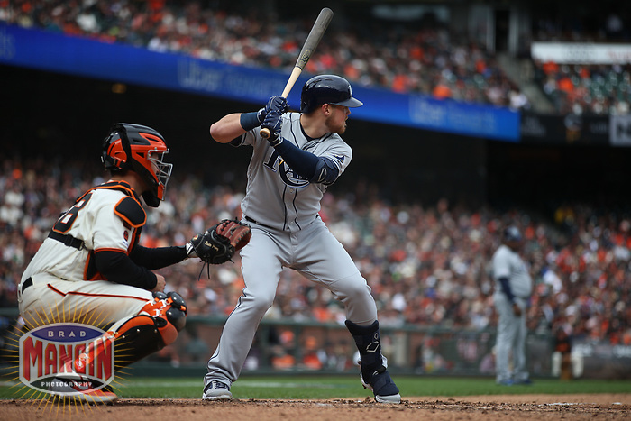 SAN FRANCISCO, CA - APRIL 5:  Christian Arroyo #22 of the Tampa Bay Rays bats against the San Francisco Giants during the game at Oracle Park on Friday, April 5, 2019 in San Francisco, California. (Photo by Brad Mangin)