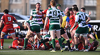 20th February 2021; Trailfinders Sports Club, London, England; Trailfinders Challenge Cup Rugby, Ealing Trailfinders versus Doncaster Knights; Doncaster Knights celebrate scoring a try