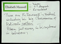 BNPS.co.uk (01202 558833)<br /> Pic: DixNoonanWebb/BNPS<br /> <br /> Pictured: A note from Elisabeth Maxwell.<br /> <br /> The bravery medals awarded to disgraced media tycoon Robert Maxwell for his wartime heroics have today sold for £7,500.<br /> <br /> Decades before the fraudster stole millions of pounds from the pension fund of Mirror Group Newspapers and then drowned in mysterious circumstances, Maxwell was a decorated war hero with a tragic past.<br /> <br /> Maxwell took part in the Normandy invasion and fought across Europe towards Germany. In April 1945 he was awarded the Military Cross for storming a German machine-gun post that had been pinning down British soldiers on the Holland/German border.<br /> <br /> His medals went under the hammer with London auctioneers Dix Noonan Webb.