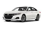 Stock pictures of low aggressive front three quarter view of 2021 Honda Accord-Hybrid EX-L 4 Door Sedan Low Aggressive