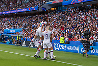 PARIS,  - JUNE 28: Alex Morgan #13 and Megan Rapinoe #15 celebrate a goal during a game between France and USWNT at Parc des Princes on June 28, 2019 in Paris, France.