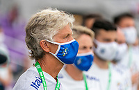 ORLANDO, FL - FEBRUARY 18: Pia Sundhage of Brazil stands before a game between Argentina and Brazil at Exploria Stadium on February 18, 2021 in Orlando, Florida.