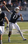 Nevada's Cody Fajardo (17) throws against BYU during the first half of an NCAA college football game in Reno, Nev., on Saturday, Nov. 30, 2013. (AP Photo/Cathleen Allison)