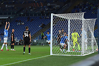 30th September 2021;  Stadio Olimpico, Rome, Italy;Europa League Football, SS Lazio versus Lokomotiv Moscow; Patric of SS Lazio scoring his goal for 2-0 in minute 38 from close in and a corner