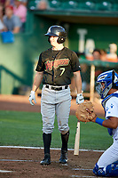 David Cronin (7) of the Great Falls Voyagers bats against the Ogden Raptors at Lindquist Field on August 16, 2017 in Ogden, Utah. The Voyagers defeated the Raptors 11-6. (Stephen Smith/Four Seam Images)