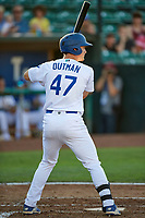 James Outman (47) of the Ogden Raptors bats against the Grand Junction Rockies at Lindquist Field on June 25, 2018 in Ogden, Utah. The Raptors defeated the Rockies 5-3. (Stephen Smith/Four Seam Images)