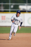 Princeton Rays catcher Roberto Alvarez (13) runs the bases during the first game of a doubleheader against the Johnson City Cardinals on August 17, 2018 at Hunnicutt Field in Princeton, Virginia.  Johnson City defeated Princeton 6-4.  (Mike Janes/Four Seam Images)