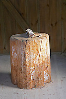 The carpentry shed where Emil was locked in when he was punished. 'Snickarboa' Log chopping block. The original location where Astrid Lindgren's story of Emil in Lonneberga (Emil get's into mischief') was filmed. Katthult Smaland region. Sweden, Europe.