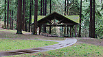 Picnik Shelter in Winter Rain, Mt. Tabor Park, Portland, Oregon.  Forested mountain park within the city of Portland, Oregon is popular for jogging and picnicking all year long.