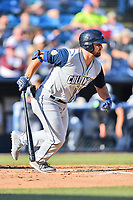 Columbia Fireflies Chase Chambers (8) swings at a pitch during a game against the Asheville Tourists at McCormick Field on June 22, 2019 in Asheville, North Carolina. The Tourists defeated the Fireflies 6-5. (Tony Farlow/Four Seam Images)