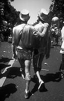 27.06.2009 <br /> <br /> Two men walking during gay pride.<br /> <br /> Deux hommes marchant durant la gay pride.
