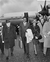 Chuck Berry arrive at Schipol Airport, Holland, February 3 1965