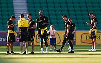 18th April 2021; HBF Park, Perth, Western Australia, Australia; A League Football, Perth Glory versus Wellington Phoenix; Wellington Phoenix players inspect the pitch before the warm ups