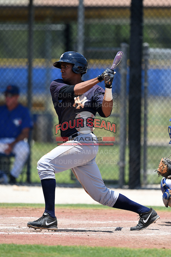 GCL Yankees 2 outfielder Frank Frias (40) at bat during a game against the GCL Blue Jays on July 2, 2014 at the Bobby Mattick Complex in Dunedin, Florida.  GCL Yankees 2 defeated GCL Blue Jays 9-6.  (Mike Janes/Four Seam Images)