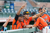 AZL Giants Andres Angulo (1) and Ricardo Genoves (15) hang out in the dugout prior to a game against the AZL Rangers on August 22 at Scottsdale Stadium in Scottsdale, Arizona. AZL Rangers defeated the AZL Giants 7-5. (Zachary Lucy/Four Seam Images via AP Images)