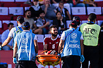 Shadi Shaban of Palestine (C on the stretcher) is taken off the football pitch by paramedics during the AFC Asian Cup UAE 2019 Group B match between Palestine (PLE) and Australia (AUS) at Rashid Stadium on 11 January 2019 in Dubai, United Arab Emirates. Photo by Marcio Rodrigo Machado / Power Sport Images
