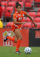 COLLEGE PARK, MD - OCTOBER 28, 2012:  Maddie Simms (21) of Miami during an ACC  women's tournament 1st. round matchagainst Maryland at Ludwig Field in College Park, MD. on October 28. Maryland won 2-1 on a golden goal in extra time.
