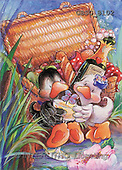 Ron, CUTE ANIMALS, Quacker, paintings, 2 ducks, picnic(GBSG8102,#AC#) Enten, patos, illustrations, pinturas