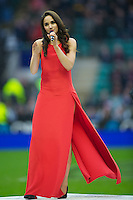 Laura Wright, recently named as England Rugby's first official anthem singer sings before the QBE Autumn International match between England and South Africa at Twickenham on Saturday 24 November 2012 (Photo by Rob Munro)