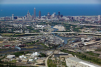 aerial view above Cleveland Ohio industrial area steel mills Cuyahoga river